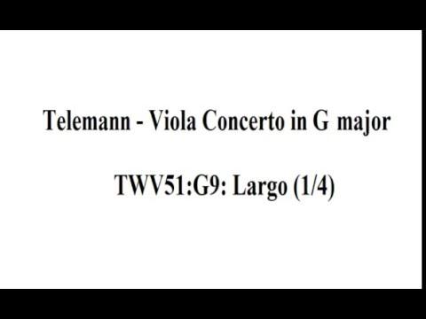 Telemann - viola concerto - Largo (1/4) Sheet music / partitions