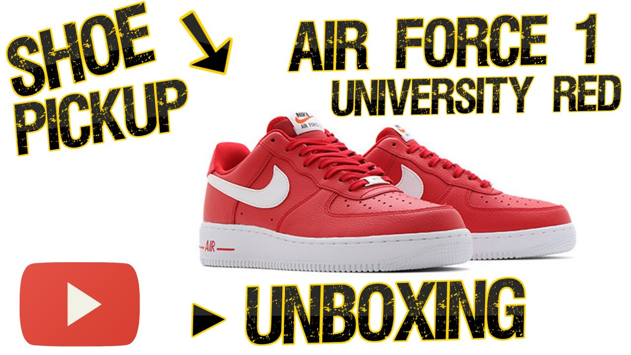 b67bd46727c Shoe Pickup - Nike Air Force 1  07 - University Red UNBOXING - YouTube