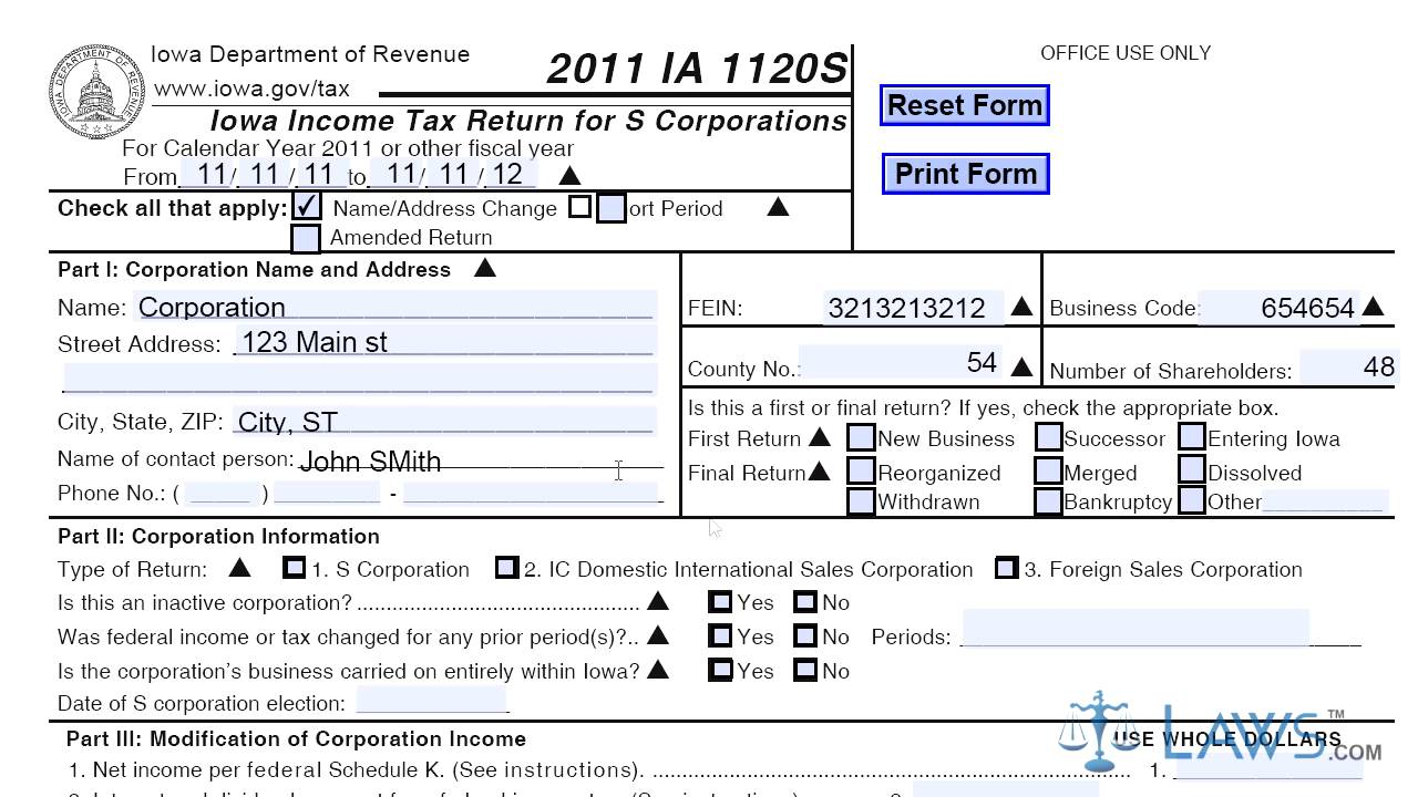 Form IA 1120S Iowa Income Tax Return for S Corporations - YouTube