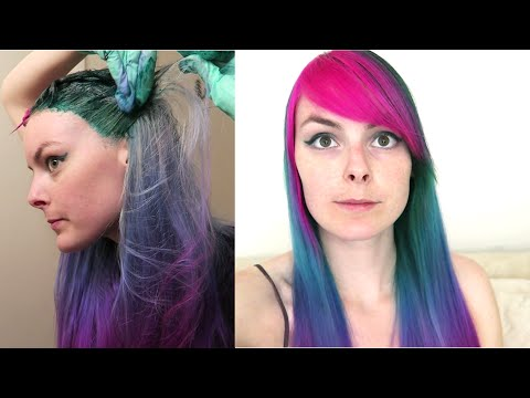 How To Dye Hair Cool-Toned Rainbow! Bright Ombre Dyeing Tutorial
