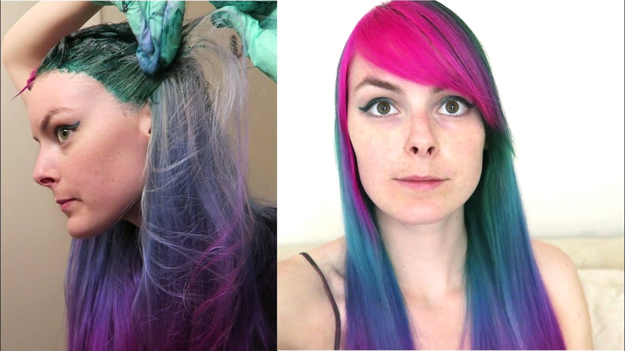 dye hair cool-toned rainbow