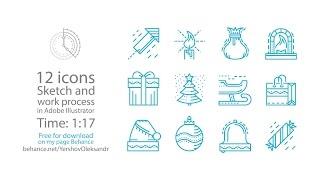 Speed art - Christmas line icons in Adobe Illustrator (#34)