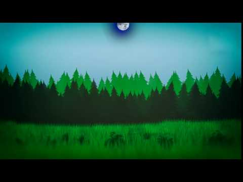 Cartoon background - night forest