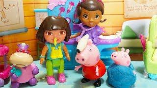 La Dottoressa Peluche cura Peppa Pig, George e Dora l'esploratrice [Storia per Bambini]
