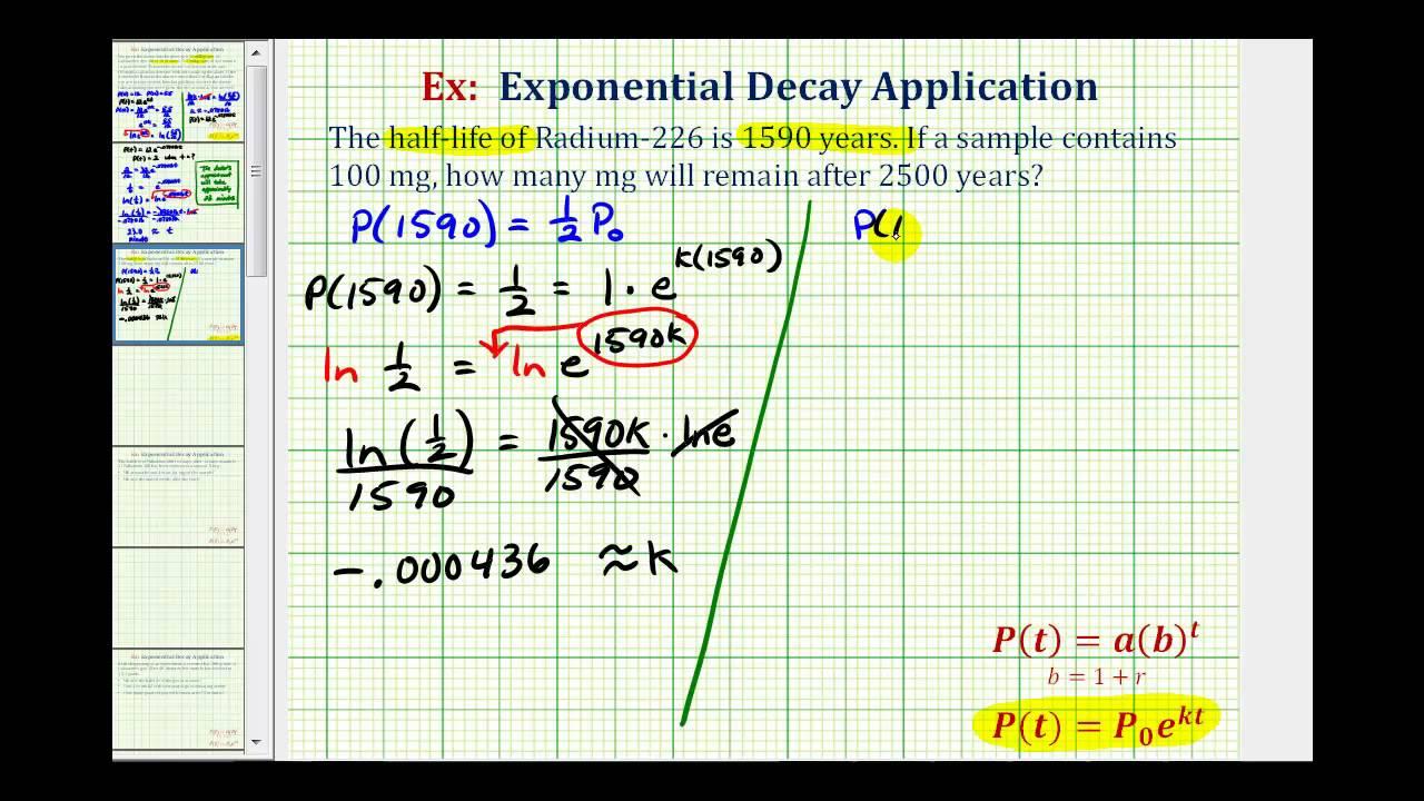 Exponential Decay App (y=ae^(kt)) - Given Half Life