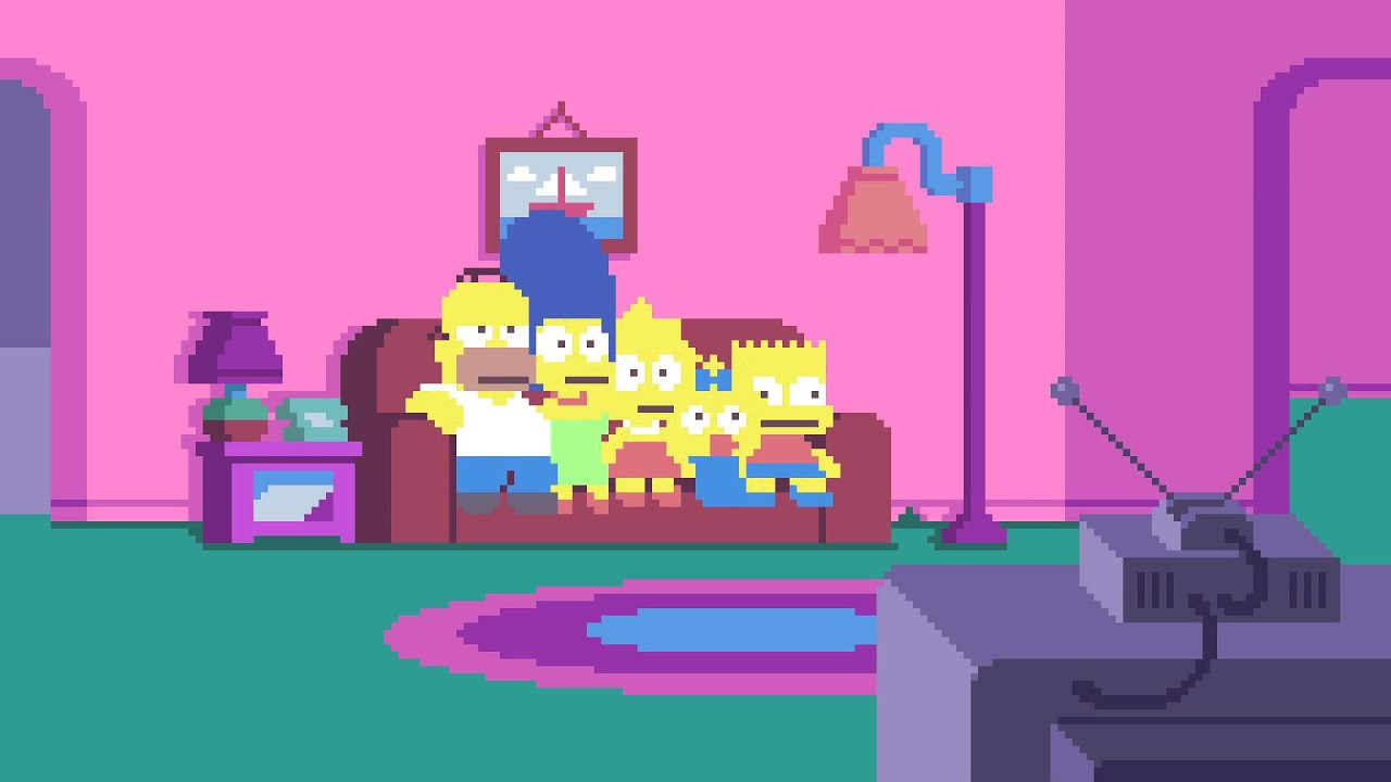 The Simpsons Couch Opening Recreated As Pixel Art Video Game