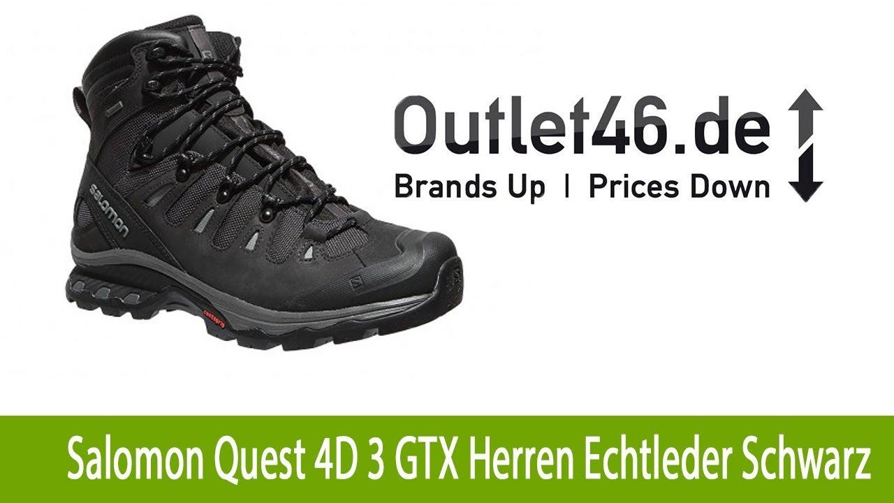 Salomon Quest 4D 3 GTX Herren Echtleder Wanderschuhe kaufen Schwarz |