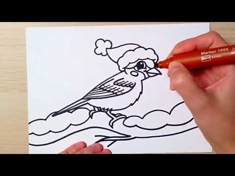 Jak se kreslí vrabec - Vánoční kreslení pro děti