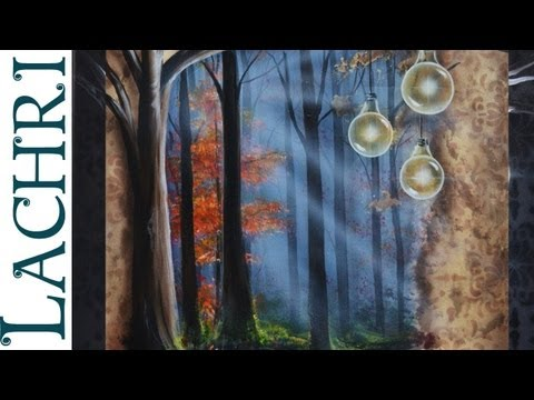 "Time Lapse Surreal landscape rainbow forest  Acrylic ""Speed Painting"" demonstration by Lachri"
