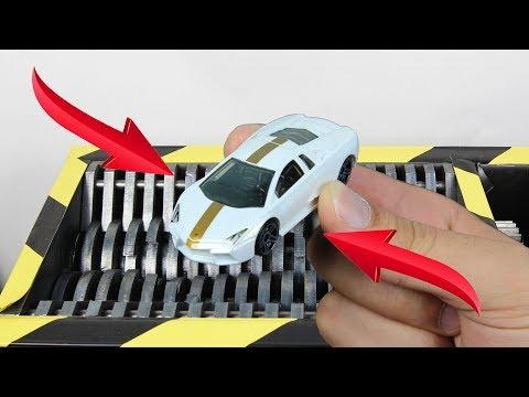 Experiment Shredding Hot Wheels Lamborgini Reventon And Toys   The Crusher