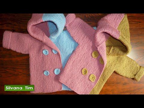 Saco con capucha para bebe de 6 a 9 meses tejido en dos agujas o palitos tejiendo per - Tejer chaqueta bebe 6 meses ...