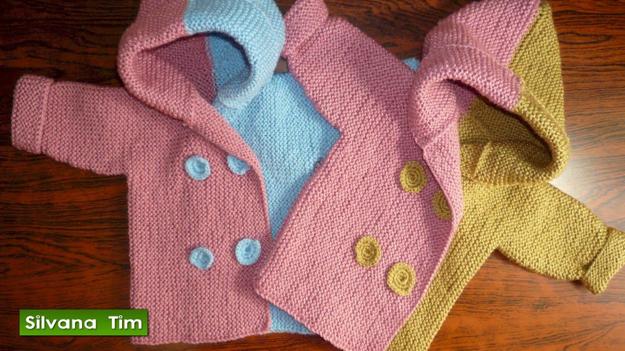 ABRIGO o SAQUITO (CHAQUETA) para bebés de (0 meses a 2 años). Tejido con  dos agujas   356 - YouTube 7342d5b7133