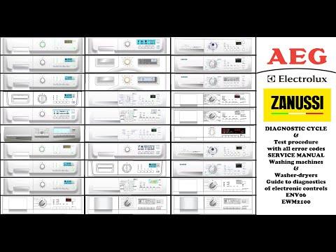 Zanussi Aeg Electrolux Etc Washing Machine Diagnostic Mode Fault Finding, Error Codes