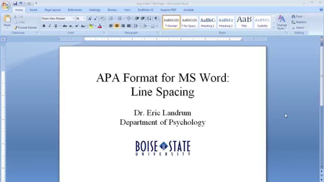 apa format on microsoft word