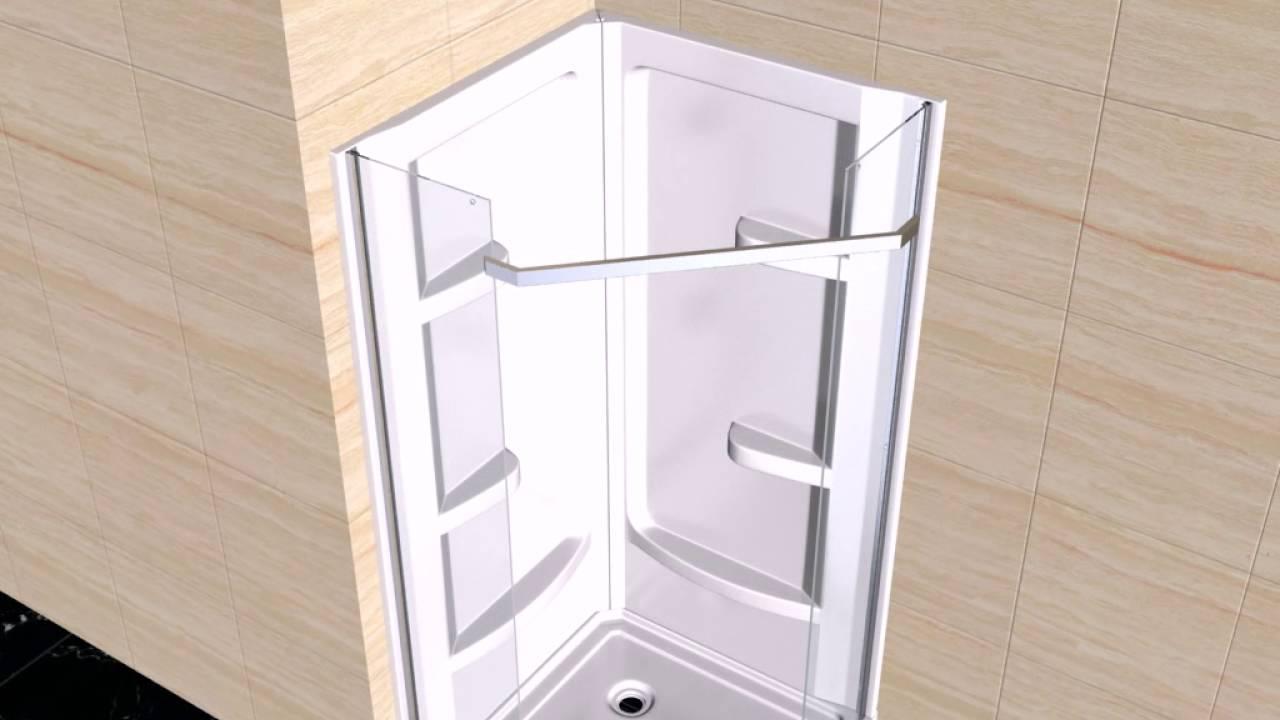 OVE Christelle corner shower installation - YouTube
