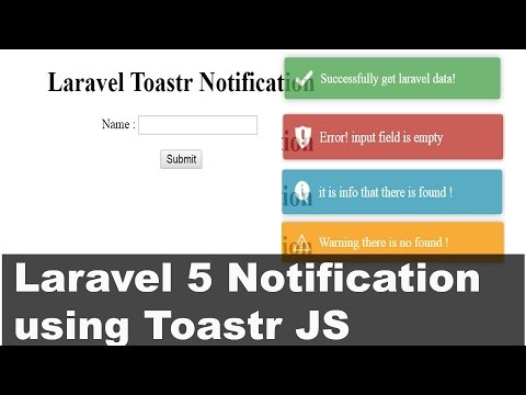 Laravel 5 Notifications using Toastr - YouTube