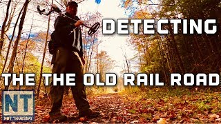 The old rail road bed metal detecting NH train track finds - Not Thursday #87 Garrett metal detector