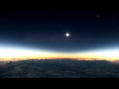 Rare total solar eclipse recorded from a plane (no audio) [HD]