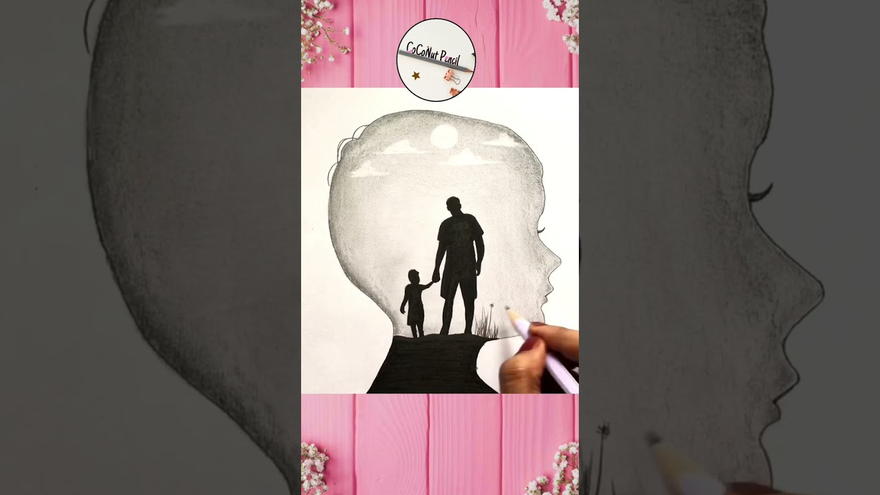 Father's Day Drawing Easy Step by Step   Father and Son in Moonlight   Scenery #shorts