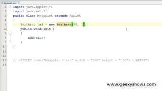 Text Area in Java Applet (Hindi)