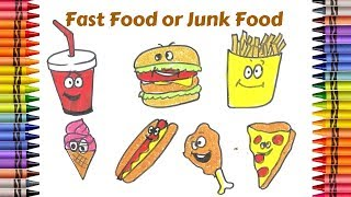 How to draw Fast Food or Junk Food | Art colors and creativity for kids | Learning How to Paint