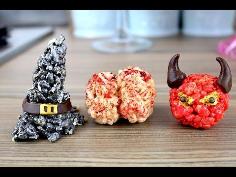 Brains, Witches Hats & Devils   Halloween Rice Krispie Treats Recipe   CarlyToffle