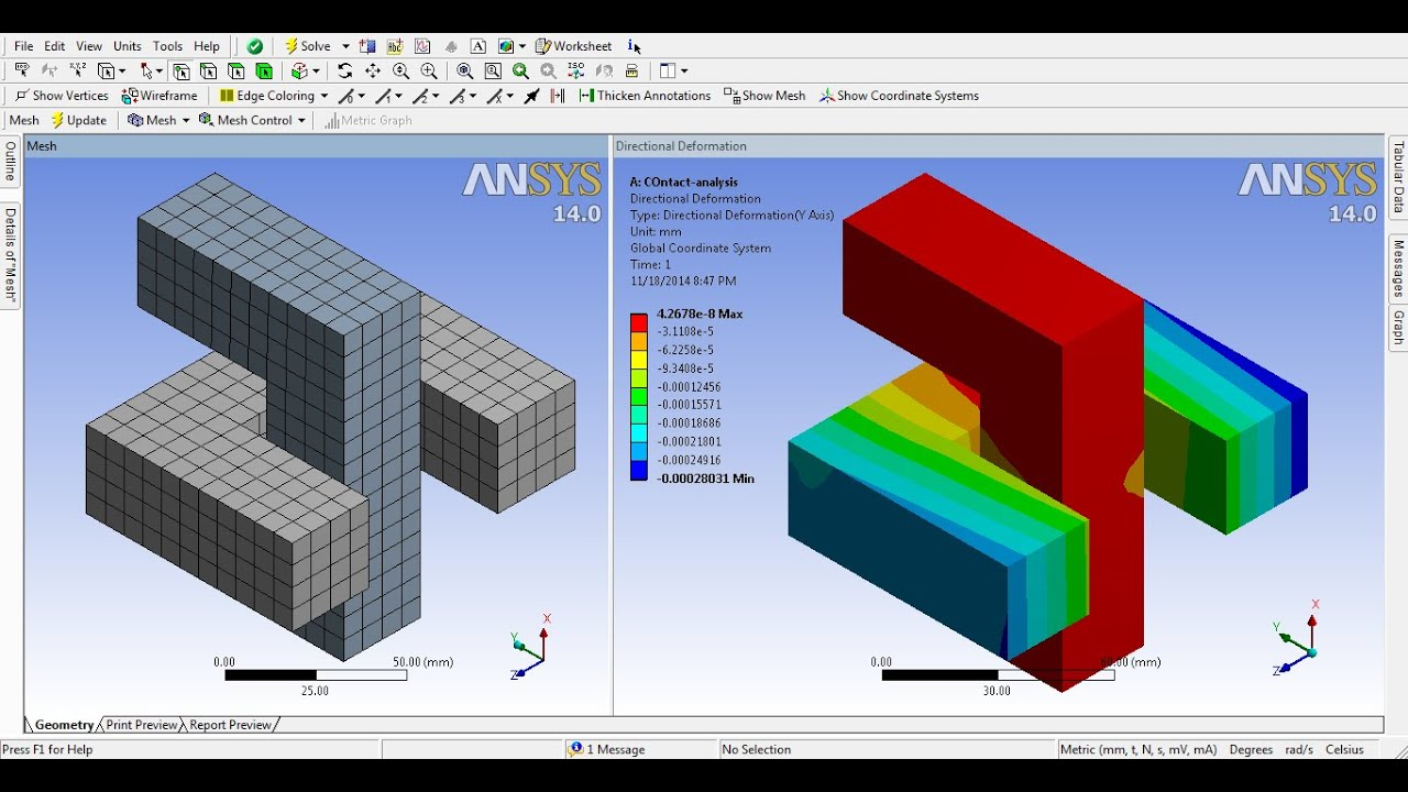 ANSYS Workbench Tutorial Video | Beginner/Expert | Contact Non Linear  Frictional FE Analysis | GRS |