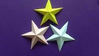 Repeat youtube video How to make a 3D paper star | Easy origami stars for beginners making | DIY-Paper Crafts
