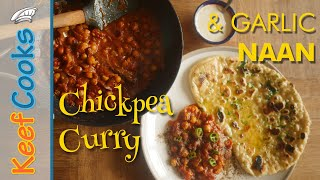 Chickpea Curry with Garlic Naan | Garbanzo Curry | Chole Masala