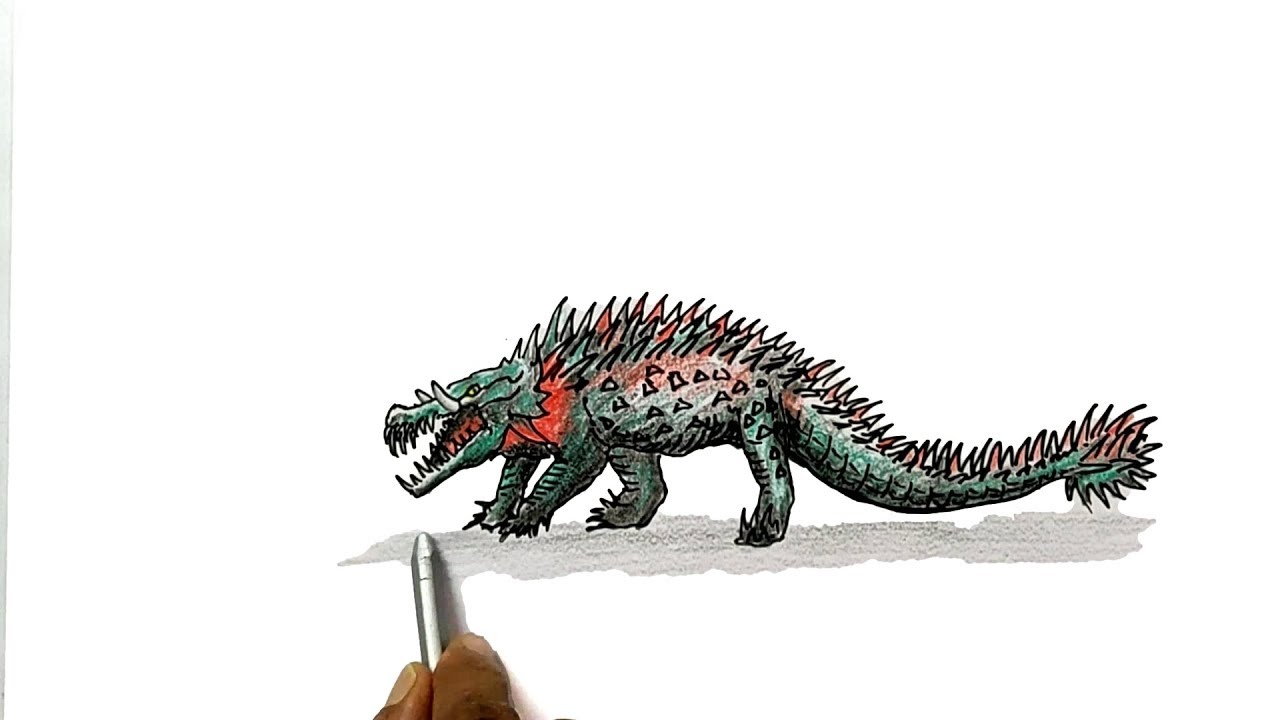 How To Draw The Crocodile From Rampage Movie Youtube