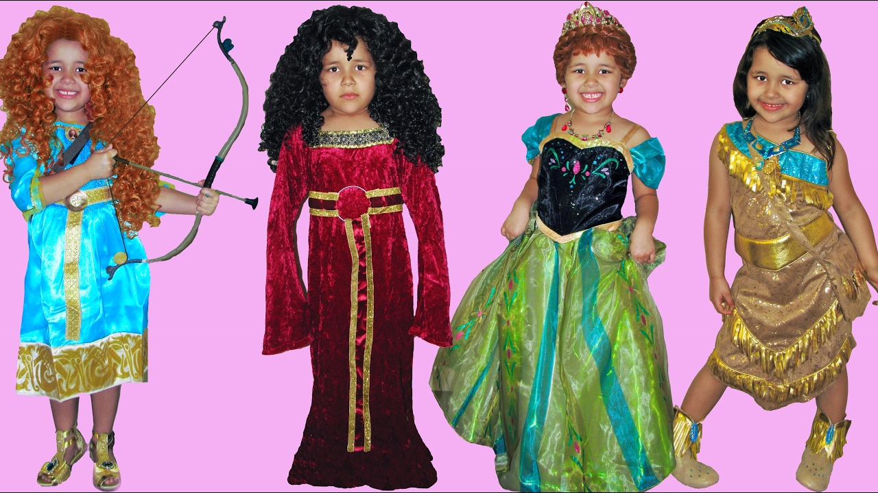 6 Halloween Costumes Disney Princess Anna Merida Pocahontas Rapunzel and Mother Gothel  sc 1 st  YouTube & 6 Halloween Costumes Disney Princess Anna Merida Pocahontas Rapunzel ...