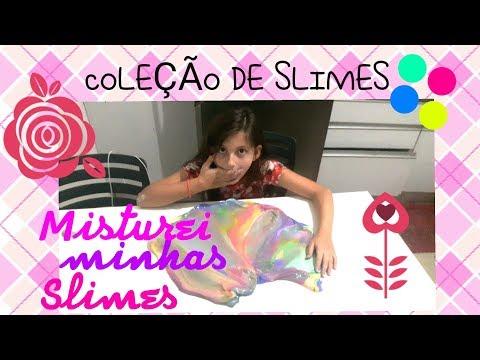 MINHA COLEÇÃO DE SLIMES E MISTUREI TUDO #slimes #minhacolecaodeslimes #slimearcoiris