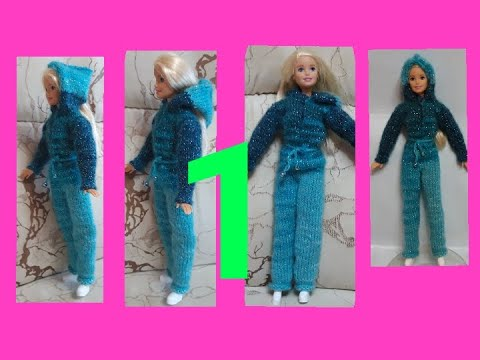 Пижама - Комбколинезон для Барби спицами.1ч. Одежда для кукол.