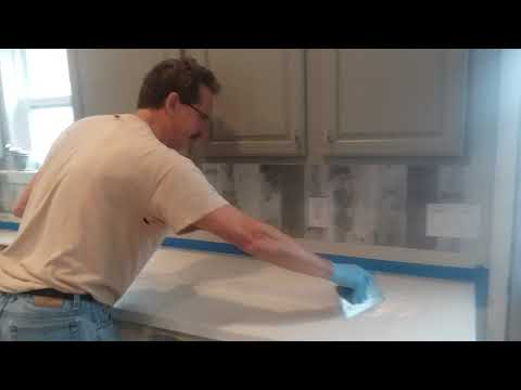 How to Epoxy Your Own Carrera Marble Kitchen Countertop- Part 1