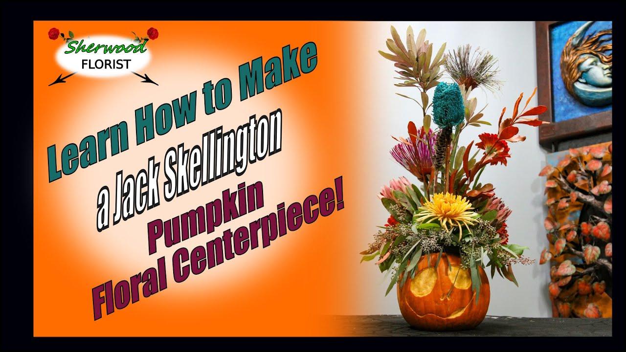 Make a Festive Jack Skellington Halloween Pumpkin Floral Centerpiece - Sherwood Florist Bloomnation