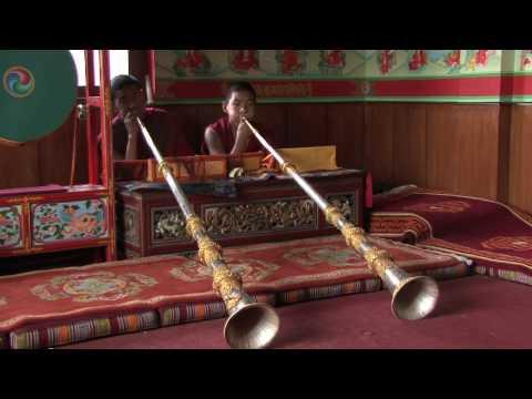 Traditional Tibetan Music instrument  played by students of Jonangpa Monastery, Kathmandu, Nepal