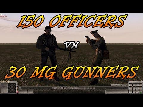 Men of War Assault Squad 2 - 150 Officers vs 30 MG Gunners - Editor Scenario #9  
