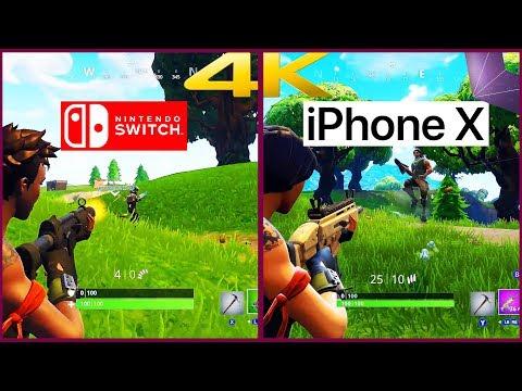 Fortnite Nintendo Switch vs Fortnite iPhone X! First 4K Comparison!!    4K60 FPS 2160P