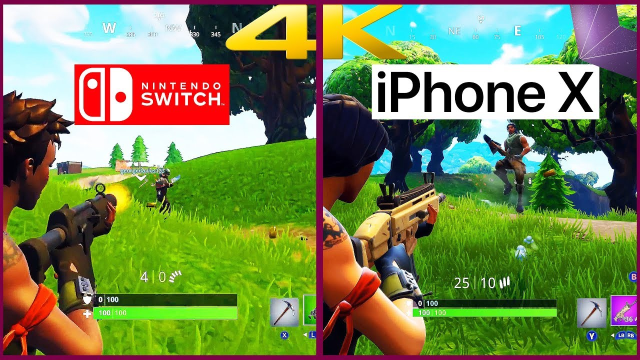 fortnite nintendo switch vs fortnite iphone x first 4k comparison 4k60 fps 2160p - iphone x playing fortnite