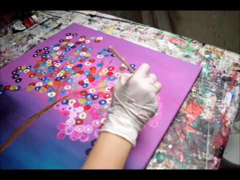 Abstrakter baum in pink bunte abstrakte bilder malen in - Baum malen ...