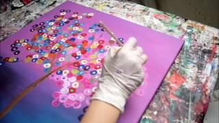 Abstrakter Baum in Pink Bunte Abstrakte Bilder Malen in Acryl Easy Painting Pictures