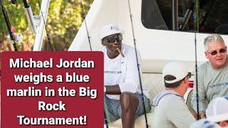 Michael Jordan weighs a blue marlin in the Big Rock!