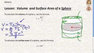 Grade 9 Academic Math Volume and Surface Area of a Sphere