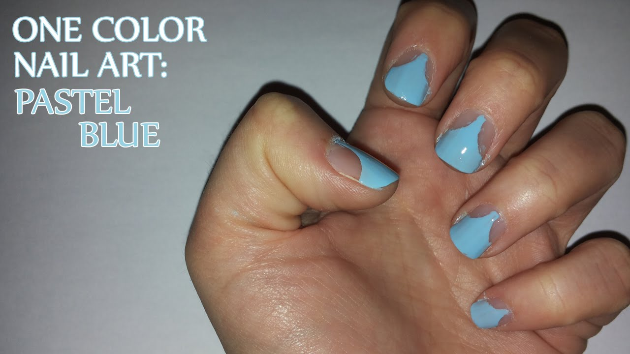 One Color Nail Art: Pastel Blue - YouTube