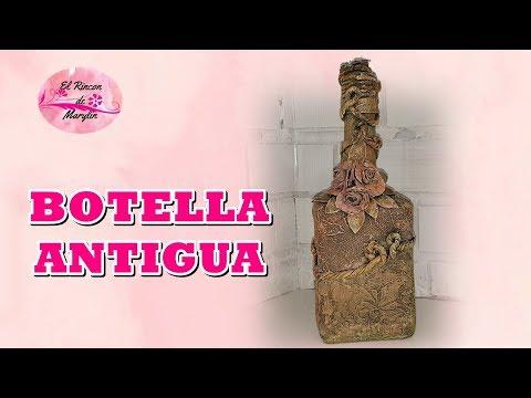 BOTELLA ANTIGUA DECORADA CON VARIAS TECNICAS