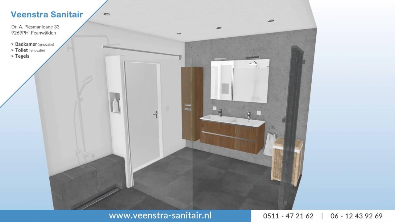 3D Ontwerp Badkamer bij Veenstra Sanitair - YouTube