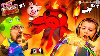 PIGGY HUNT #1 It&#39s AMONG US but a Psycho Pig Hunts You While You do Tasks!  (FGTeeV Escape Gameplay)