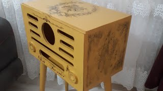 Radyo Sehpa Boyama Stencil & Wax eskitme & Kolay transfer