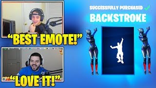 STREAMERS Reacts TO *NEW* 'Backstroke' Emote/DANCE In Fortnite! (Fortnite FUNNY & Daily Moments)