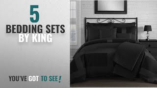 Top 10 King Bedding Sets [2018]: King & Queen Home Modern Frame Microfiber Lacquer 5 Piece Comforter